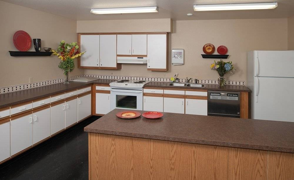 Community room with kitchen