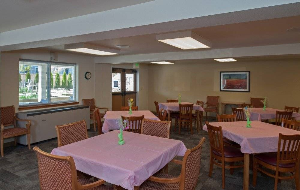 Community room with tables set