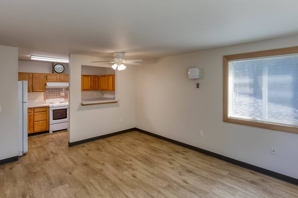 LIving space with kitchen