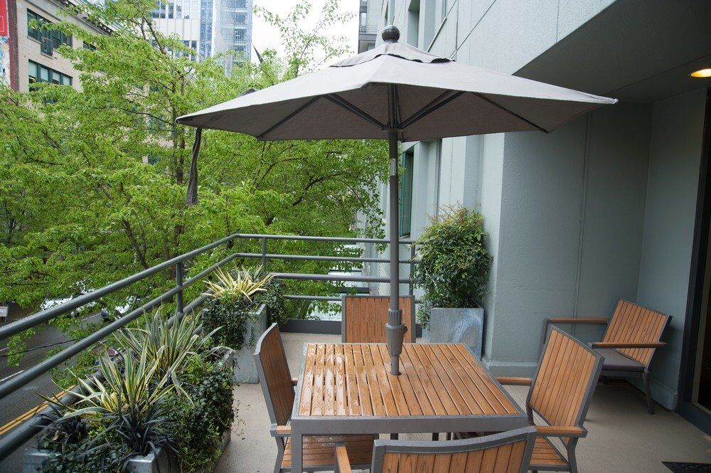 Deck view with patio set