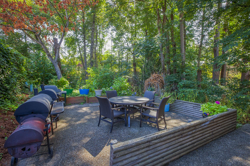 Patio surrounded by trees