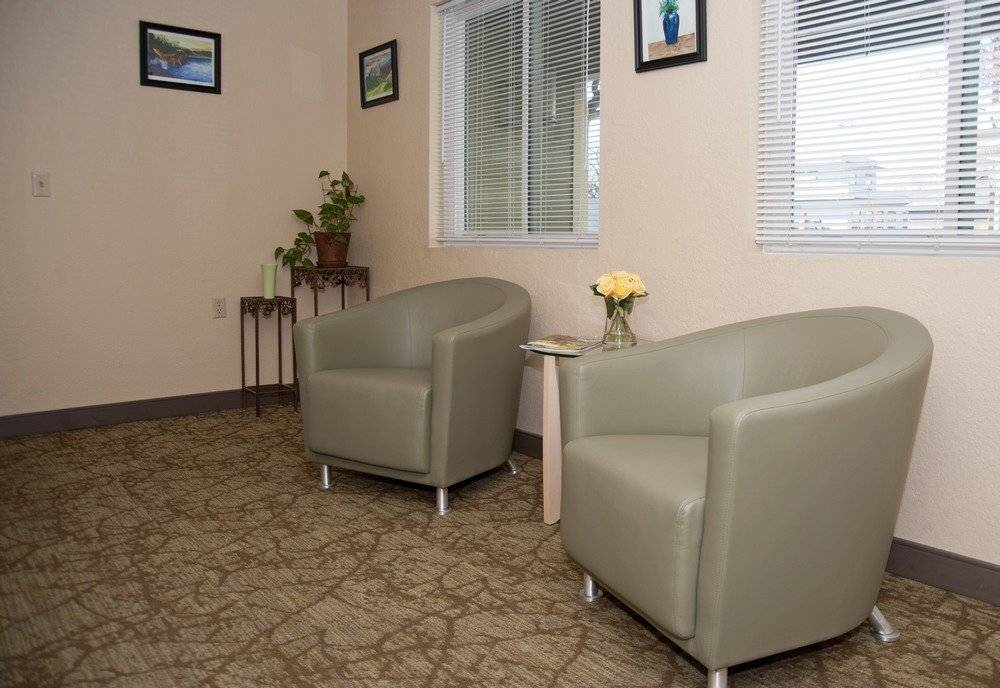 Lobby with two chairs