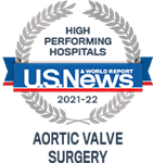 U.S.News & World Report 2021-22 Award: High Performing Hospital for Aortic Valve Surgery