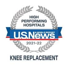 """US News and World Report badge for """"Knee Replacement"""" 2021-2022"""