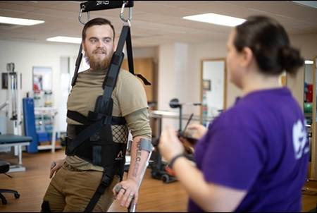 Patient uses ZeroG equipment in therapy