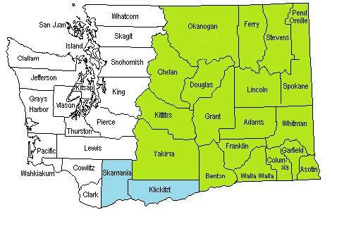 Map of counties included in COHE service area