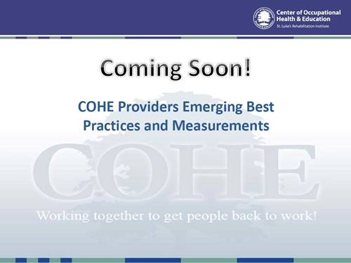 COHE Providers Emerging Best Practices