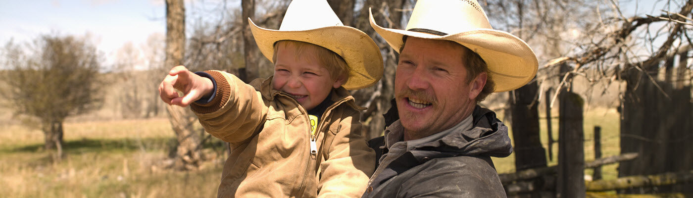 Father and son on family ranch