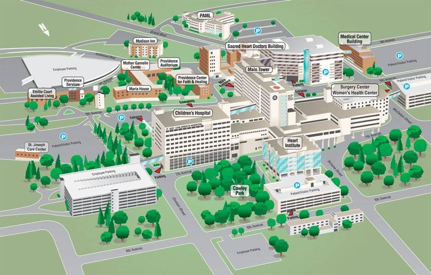 Sacred Heart Medical Center campus map.
