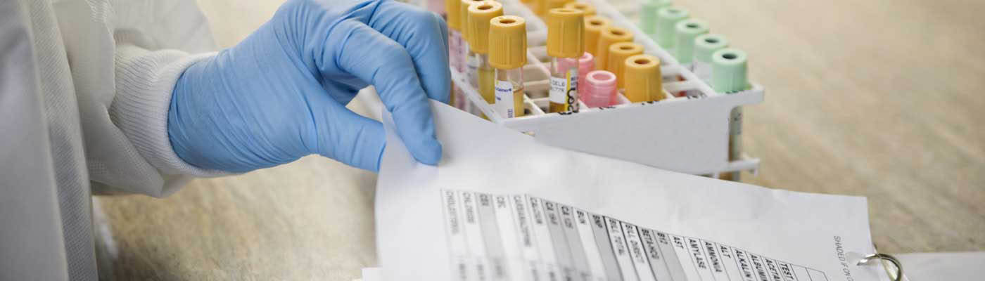 Lab tech wearing gloves looks at paperwork