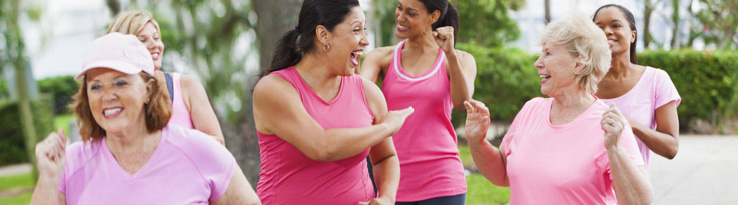 A group of women on breast cancer walk event