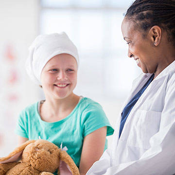 Cancer Child Headband with Female Doctor