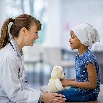 Having a consultation with a cancer patient