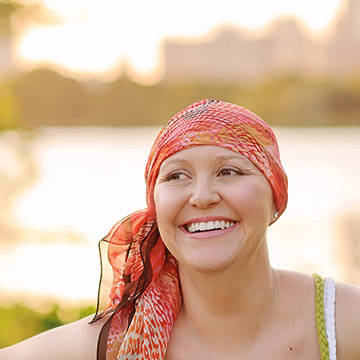Woman wearing headband smiling