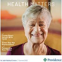 Cover of Summer 2020 issue of St. Jude Medical Center's newsletter Health Matters