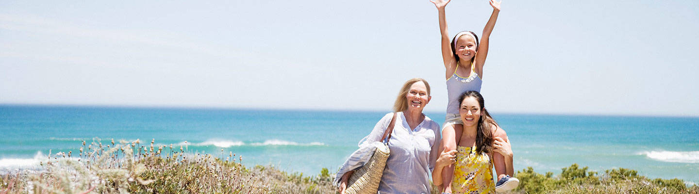 Mother Daughter and Grandmother at Beach